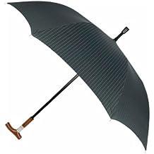 Leighton Cane Umbrella, Black/Grey Stripe, One Size