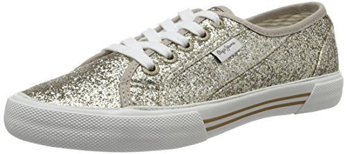 Pepe Jeans WoMen Aberlady Flash Low-Top Sneakers, Silver Gold (Gold)