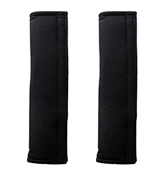 Penta Angel Soft Comfortable Thick Auto Car Seat Safety Belt Strap Covers Shoulder Pad for Men and Women (Black, 2PCS)