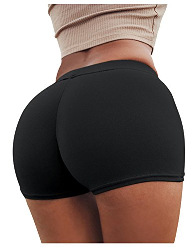 SportsWell Women Fitness Stretch Underwear Butt Lifter Boy Short Panties Shapewear Black (Butt Shorts)