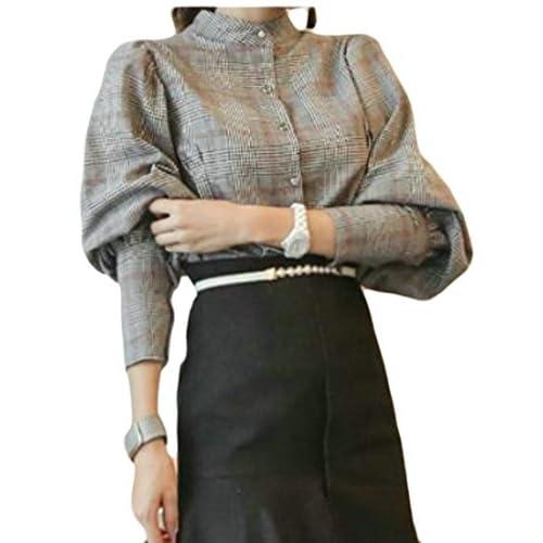 4ee60aa5b high-quality Pandapang Womens Bowknot Elegant Plaid Puff Sleeve Slim Vogue  Shirt