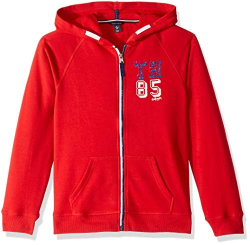 Tommy Hilfiger Big Girls' Solid Hoodie, Haute red, Large 12/14 (Tommy Hilfiger Sweater Red Women)