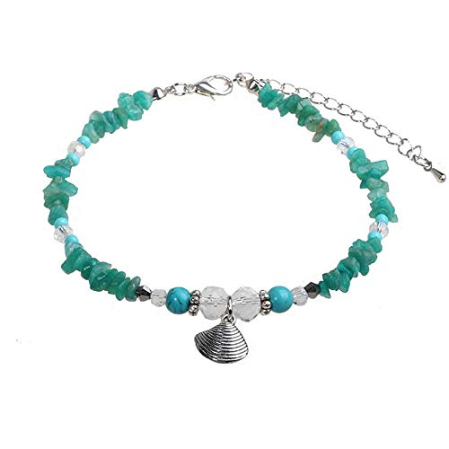 INSANEY Starfish Charm and Turquoise Pearl Bead Link Anklet (Seashells)