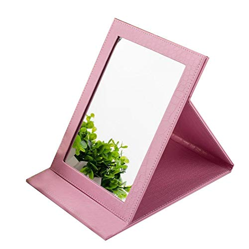 NJYT Bathroom Mirror Tabletop Makeup Mirror, Folding Tabletop Mirror with PU Leather Cushioned Cover with Faux Leather Frame Stand - Rectangular (Color : A Pink)