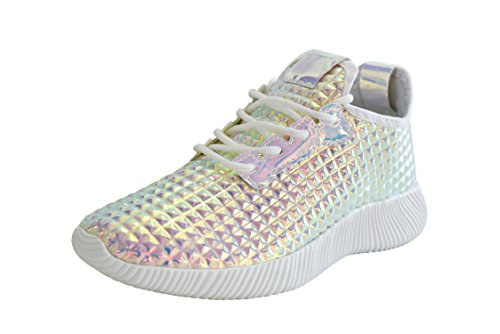 ROXY ROSE Women Metallic Leather Sneaker Lightweight Quilted Lace Up Pyramid Studded - New Fashion (7 B(M) US, Pink Hologram) from ROXY ROSE