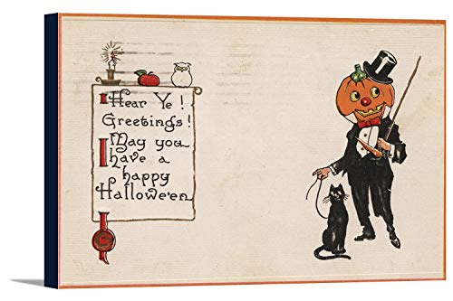 Halloween Greeting - Jack-O-Lantern in Tux (36x23 5/8 Gallery Wrapped Stretched Canvas)]()
