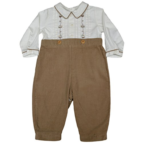 Bobby Suit (Baby Boy's 2 Piece Dressy Full Length Bobby Suit - Car Embroidered White/Beige, 18M)