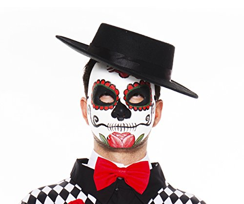 Music Legs Men's Day Of The Dead Mask, White/Red/Black, One Size (Day Of Dead Mask)