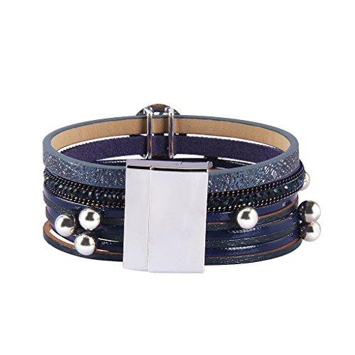 TASBERN Tree of Life Leather Cuff Bracelets Multilayer Rhinestones Stud Beads Rope Wrap Bracelet Wristband for Women Girls Gift(navy) by TASBERN (Image #2)