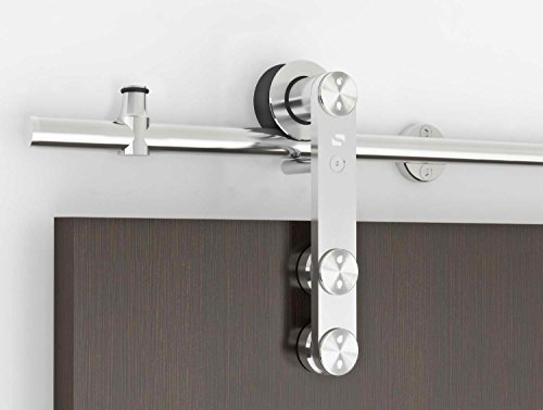 Contemporary Stainless Steel Sliding Barn Door Hardware for Wood Doors / Polished Chrome finish - Grand-WF Series (6' Rail Length) (Wf Series)