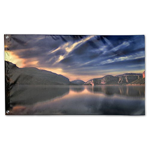 Home Garden Flags Lake Sunset Nature Polyester Flag Indoor/Outdoor Wall Banners Decorative Flag Garden Flag 3' X 5' by Hfaw