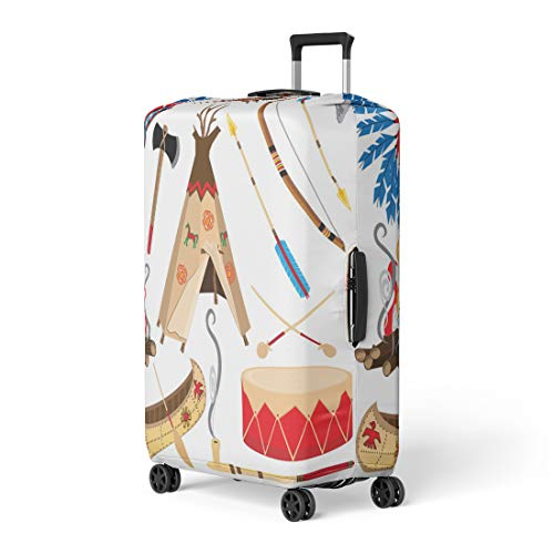 Semtomn Luggage Cover Cowboy American Indian Clipart and White Teepee Arrowhead Drum Travel Suitcase Cover Protector Baggage Case Fits 18-22 Inch