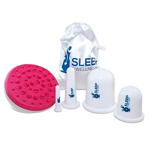 Sleep & Wellness PREMIUM Anti Cellulite Cupping Set with Cellulite Massager/Remover Brush Mitt - Vacuum Suction Cup for Cellulite Removal Treatment (4 Cups + 1 Brush/Mitt) by Omni Essence - 3 Kit Omni