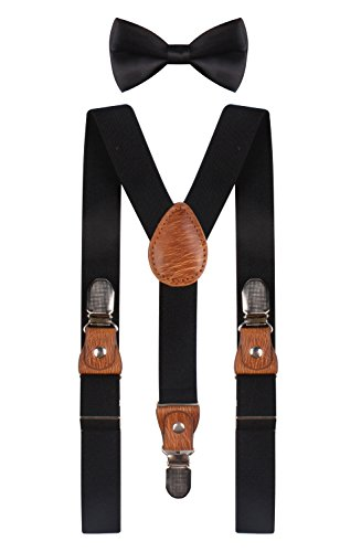 BODY STRENTH boys black suspenders black bow tie black suspenders Black