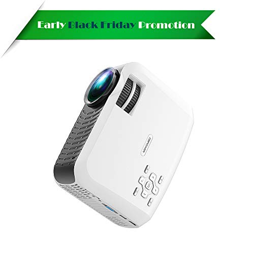 Video Projector, 120 ANSI Portable LCD Projector DBPOWER, Free HDMI/176 inch Large Screen/Supporting 1080P, Compatible with iPhone/iPad/Fire TV Stick/PC/Smartphone for Home Cinema, from DBPOWER