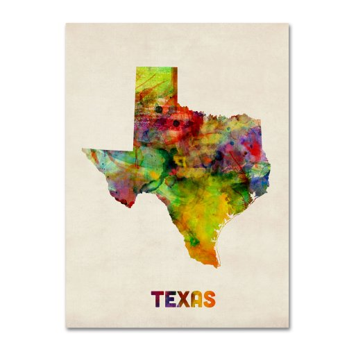Texas Map by Michael Tompsett, 18 by 24-Inch Canvas Wall Art ()