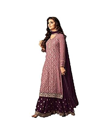 2fd06f787e Generic Women's Superx Mohini Sharara Style Heavy Georgette Embroidered  Work Stones Salwar Suit with Dupatta (