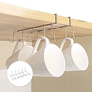 newsoul1us mug holder under shelf cup hooks under cabinet mug rack hanger coffee. Black Bedroom Furniture Sets. Home Design Ideas