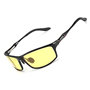 Soxick Men's HD Polarized Night Driving Glasses Anti Glare Safety Glasses (Black Frame/Yellow Lens-3)