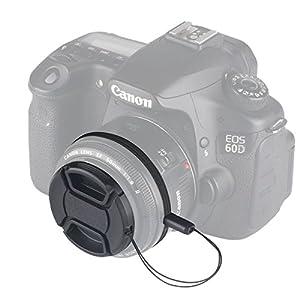 UNIQUE DESIGN Lens Cap Bundle, 3 Pcs Center Pinch Lens Cap and Cap Keeper Leash for Canon Nikon Sony DSLR Camera + Microfiber Cleaning Cloth (52mm)