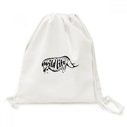 Black Rhinoceros Animals (Black Animal Rhinoceros Silhouette Natural Canvas Drawstring Backpack Shopping Travel Lightweight Basic Bag Gift)