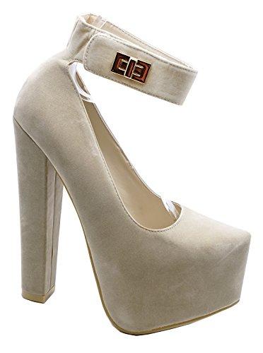 3a29bab1ddc169 Hof Smart Beige Größen High Zum Knöchelriemen Damen Heelzsohigh  Reinschlüpfen 3 8 Schuhe Plateau heels C8qIwx
