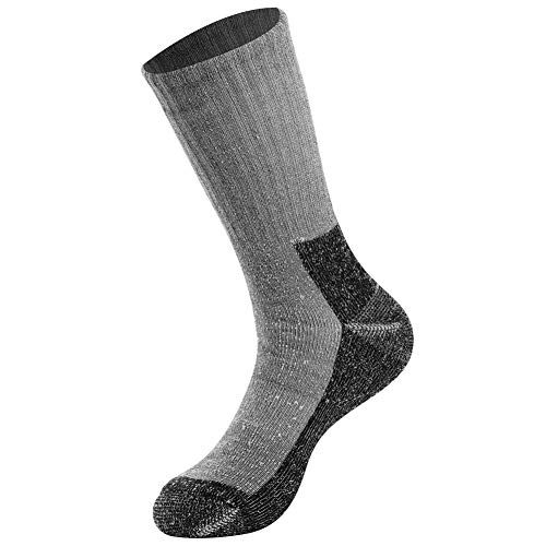 (Merino Wool Boot Socks, FOOTPLUS Unisex Mid Calf Full Cushion Thick Ultra Warm Cozy Casual Socks for Hunting Hiking Camping Climbing Trekking, 1 Pair Large)