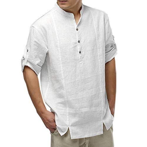 FEITONG Mens Loose Cotton Linen Shirts Casual Long Sleeve Stand Collar Tops Blouse(X-Large,White)