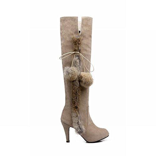 Carolbar Womens Faux Fur Pom-Poms Fashion High Heel Tall Snow Boots Beige xe5om
