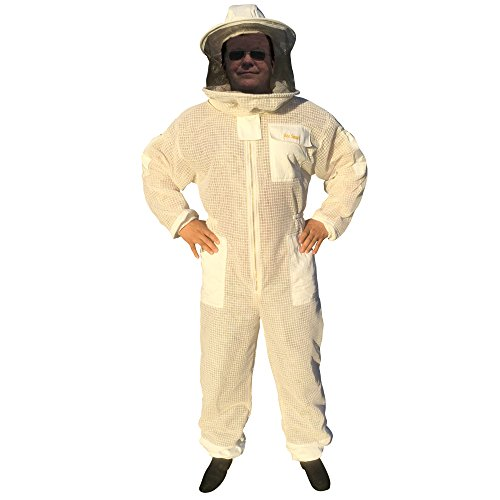 Bee Smart 800 - Ventilated Three Layers Mesh Beekeeping Suit with Removable hat/Veil - Size XXXL