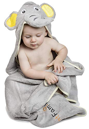 Adorable Elephant Hooded Baby Towel | Luxurious, Extra-Soft, 100% Egyptian Cotton for Newborns, Infants & Kids | Hypoallergenic & Ultra-Absorbent Toddler Towel for Home Or Beach | XL 100 x 75 cm!