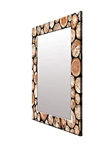 999Store Printed Brown Wooden Log Pattern Mirror