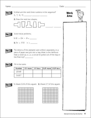 Counting Number worksheets maths probability worksheets : Amazon.com: Math Starters For Every Day Of The School Year ...