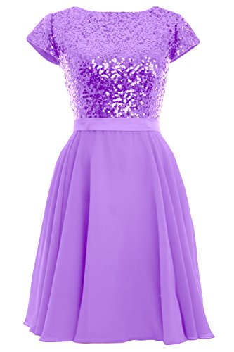 Dress Gown Sequin Lavendel Birdesmaid Short Chiffon Party Formal Women Cap Sleeve MACloth 1wa4q4