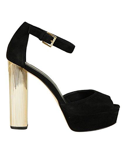 Zapatos Tacon Dorado Ante Negro Michel Kors