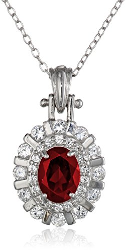 Silver Faceted Garnet Necklace (Sterling Silver Garnet and Created White Sapphire Oval Pendant Necklace, 18