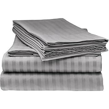 Elaine Karen 1800 Bedding - Soft Brushed Microfiber - Striped Queen Sheet Set Grey