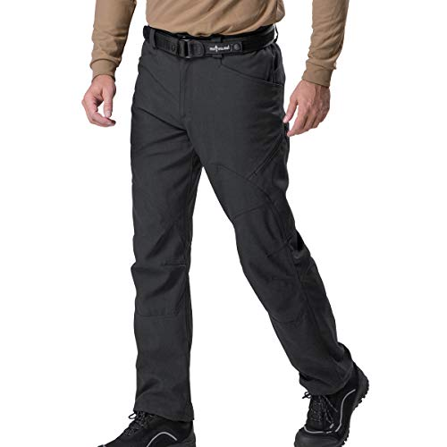 FREE SOLDIER Men's Tactical Pants Lightweight Breathable Work Cargo Long Pants with Multi Pockets Water Resistant Traveling Trousers for Casual and Military (Black Upgrade, 34W / 30.7L)