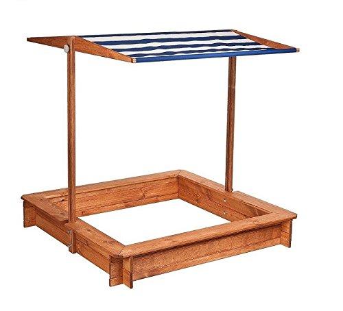 Impag-Sandkasten-mit-Sonnendach-Gre-120-140-cm-Wetterfest-lasiert-Blau