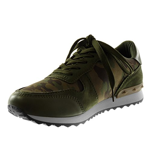 Angkorly Damen Schuhe Sneaker - Sporty Chic - Tennis - Bi-Material - Camouflage - Nieten - Besetzt Flache Ferse 3 cm Tarnung
