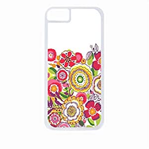 Summer Flowers- Case for the Apple Iphone 4-4s Universal-Hard White Plastic Outer Shell with Inner Soft Black Rubber Lining