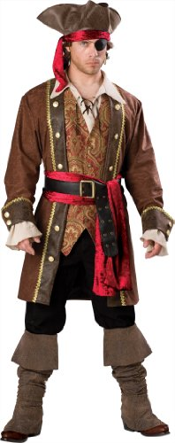 InCharacter Costumes Men's Captain Skullduggery Pirate Costume, Brown, (Pirate Costume For Men)