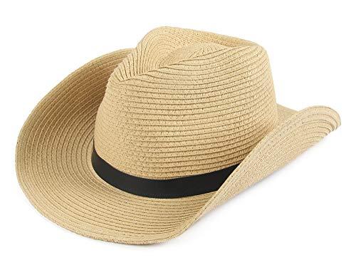 Melesh Soft Foldable Beach Adult Sun Straw Western Cowboy Hat (Beige)