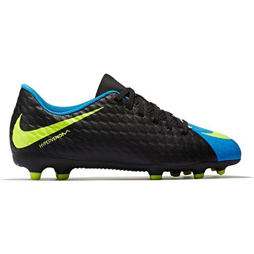 NIKE Kids' Hypervenom Phade III FG Soccer Cleats (5.5, Black/Blue)