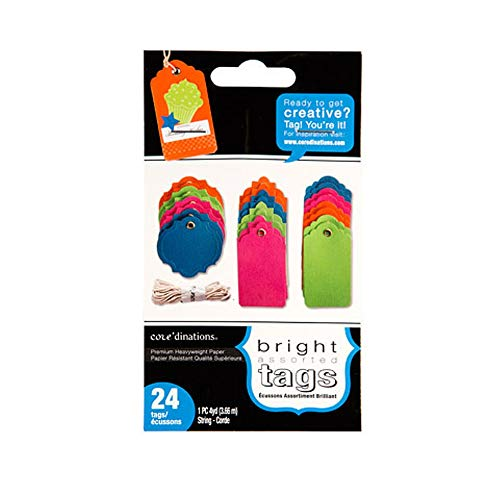 (GX-8000-137 Darice Gift Tags - Assorted Colors and Styles - 1.75 x 2.5 inches - 24 Pieces with String )