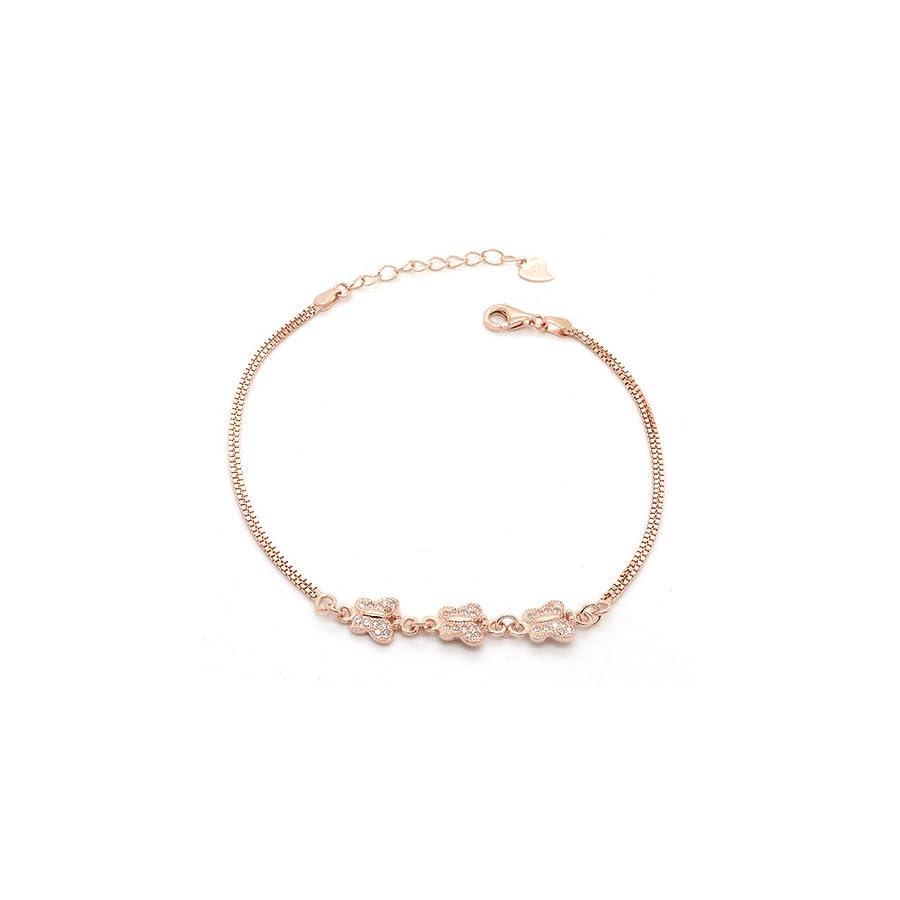 Sterling Silver CZ 3 Butterfly Link Bracelet Rose Gold Flashed