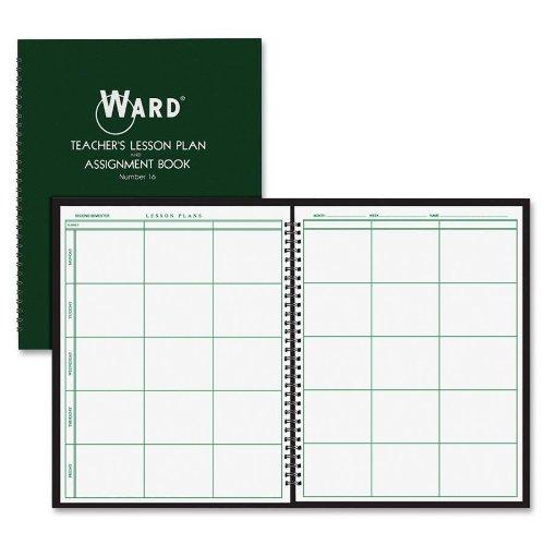 "Ward - Lesson Plan Book, 6-Period, 38 Weeks, 8-1/2""x11"", Dk Green, Sold as 1 Each, HUB 16"