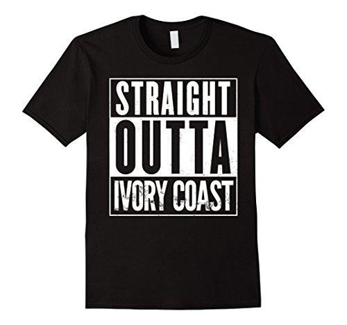 Mens Straight Outta Ivory Coast Funny T-Shirt Small Black