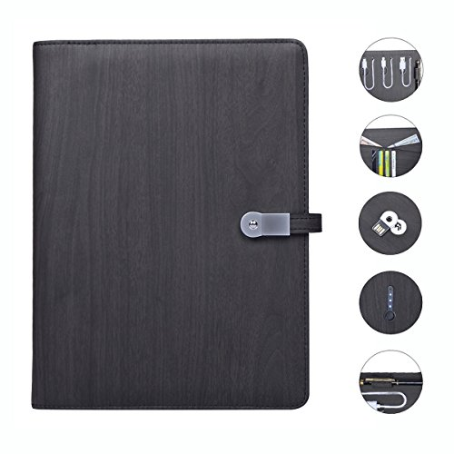 Leather Business Portfolio Padfolio Notebook with 8GB USB,3 in 1 6000mah Mobile Power Supply Case Cover for iPad /iPhone /Android (Wood Grain Black) - Woodgrain Insert