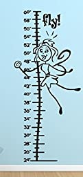 Growth Chart Fairy Wall Decals Stickers, Black, 48\